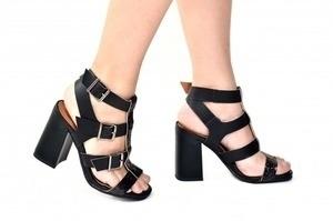 Sandália 4 Tiras Preta / Glitter
