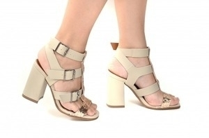 Sandália 4 Tiras Bege / Glitter