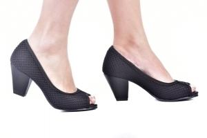 Peep Toe Básico Tricot Preto